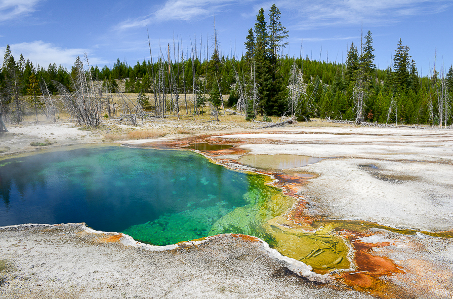 Sources chaundes au Yellowstone National Park dans le Wyoming